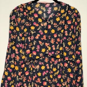Zara Floral blouse with bell sleeves